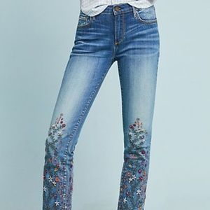 DRIFTWOOD CANDACE MID-RISE EMBROIDERED JEANS